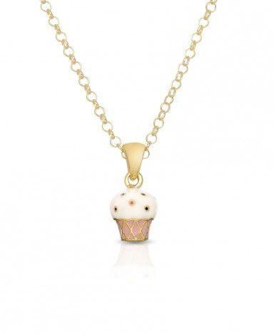 Naszyjnik dla Dziewczynki - Pozłacany Muffinek