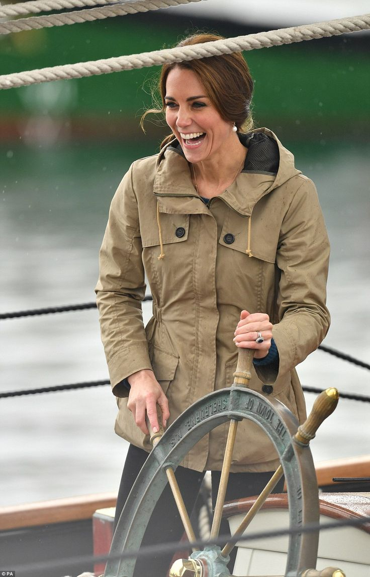 Captain Kate: The Duchess of Cambridge giggled as she steered the huge ship around the harbour in Canada