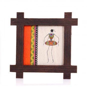Wooden Wall Hanging - Jute Art Warli, W1870,
