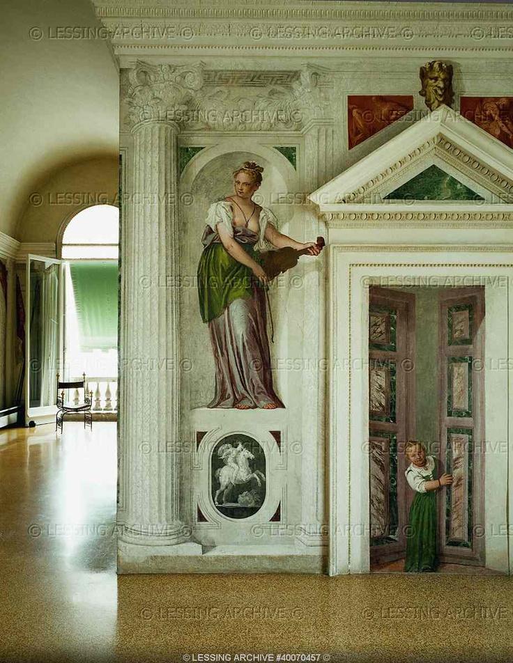 RENAISSANCE ARCHITECTURE 16TH   Palladio,Andrea  Villa Barbaro, interior with frescoes. Trompe-l'oeil architecture. Paolo Veronese (1528-1588) and Andrea Palladio (1508-1580).   Villa Barbaro, Maser, Italy