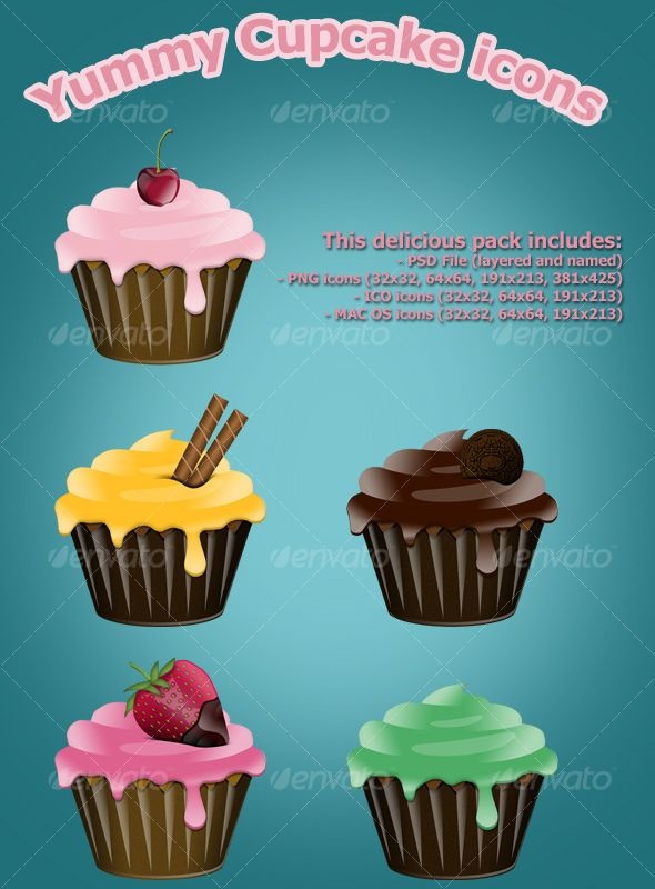 Yummy Cupcake icons — Layered PSD #glossy #yellow • Available here → https://graphicriver.net/item/yummy-cupcake-icons/78694?ref=pxcr