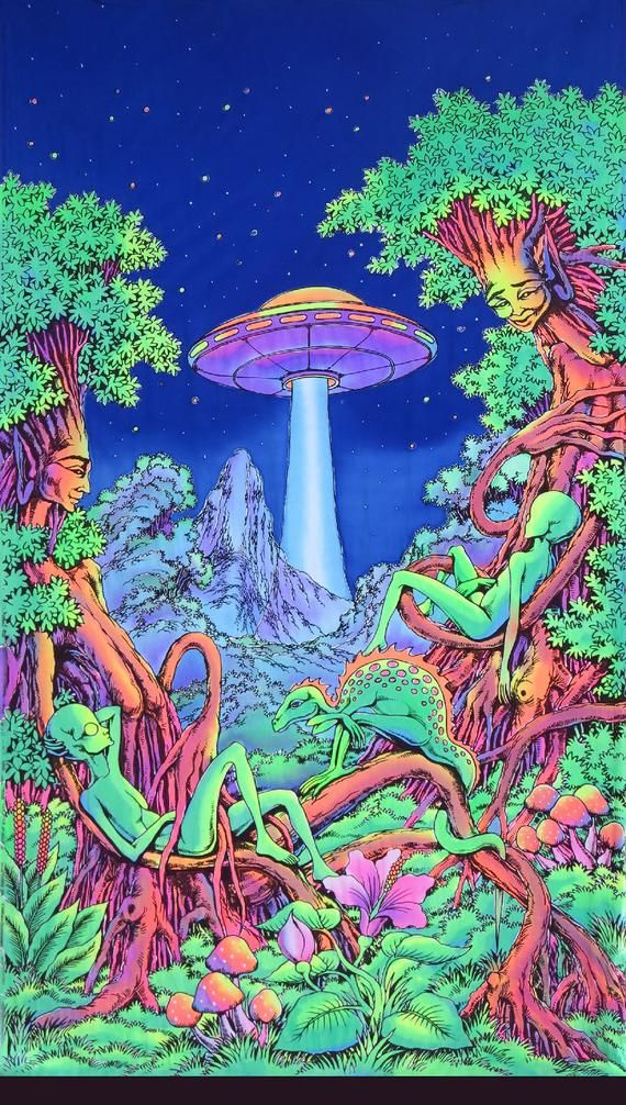 Trippy wall art 'UFO Jungle'. Psychedelic tapestry, Trippy wall hanging, UV active batik wall-hanging. Shrooms, Black light art decor