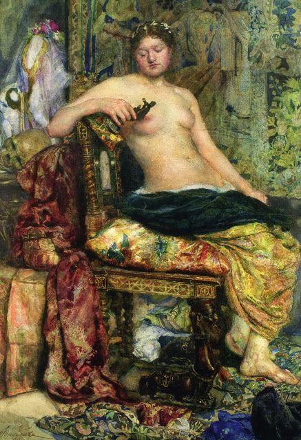 Михаил Александрович Врубель - Натурщица в обстановке ренессанса, 1883