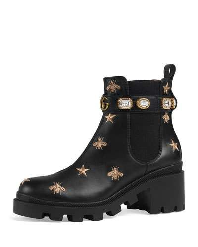 bb77ac619de X4BAL Gucci Star And Bee Embroidered Boots