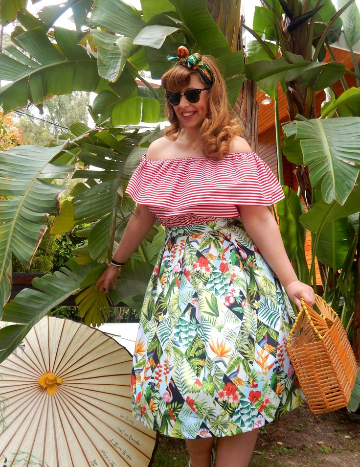 Custom made exotic print full skirt and striped peasant top