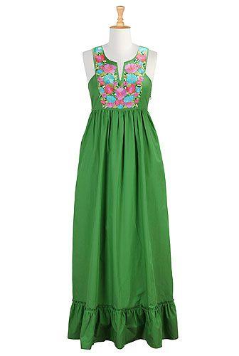 I <3 this Vibrant floral bib front maxi dress from eShakti
