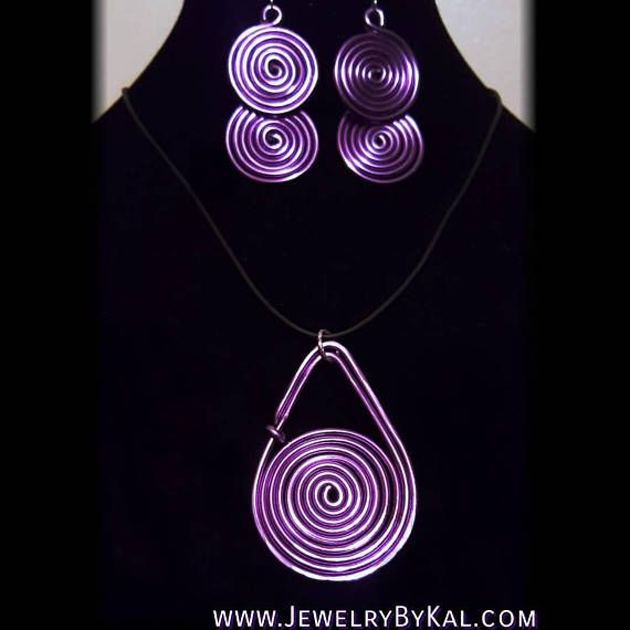 Jewelry Set Swirled Aluminum Dangle Earrings and Swirled Pendant Choose Your Color!