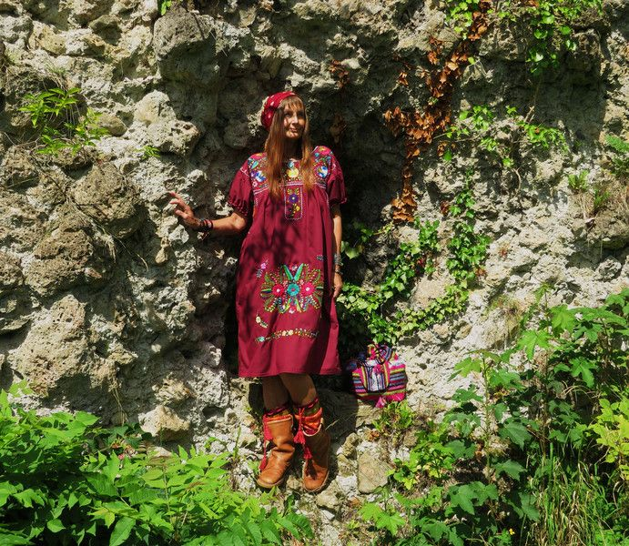 Minikleider -  L *PEYOTE MOON* Boho Ethno Kleid bestickt marsala - ein Designerstück von santa-fee bei DaWanda