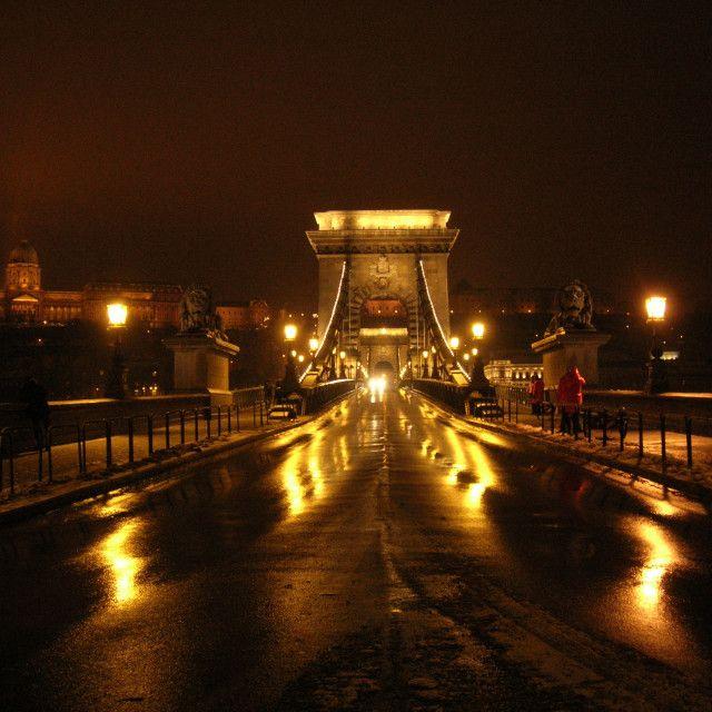 '   Chain Bridge, night reflections       ' on Picfair.com