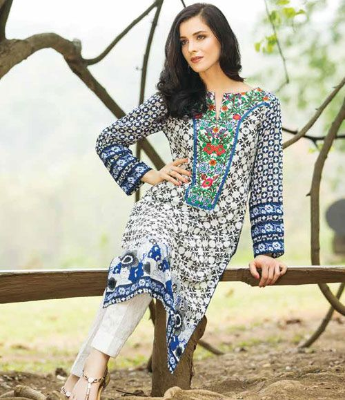 Orient Embroidered Lawn Kurti Collection 2015 OTL_089B