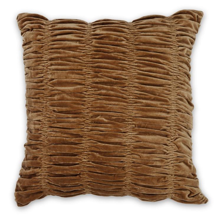50x50cm Gathered Velvet cushion Cashew