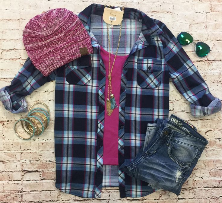 Penny Plaid Flannel Top: Blue/Fuchsia from privityboutique