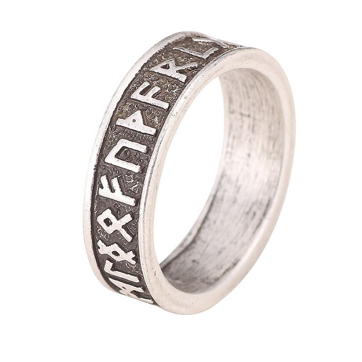 Viking Rune Men Ring - Nordic Alphabet (SIZE 9 ONLY)