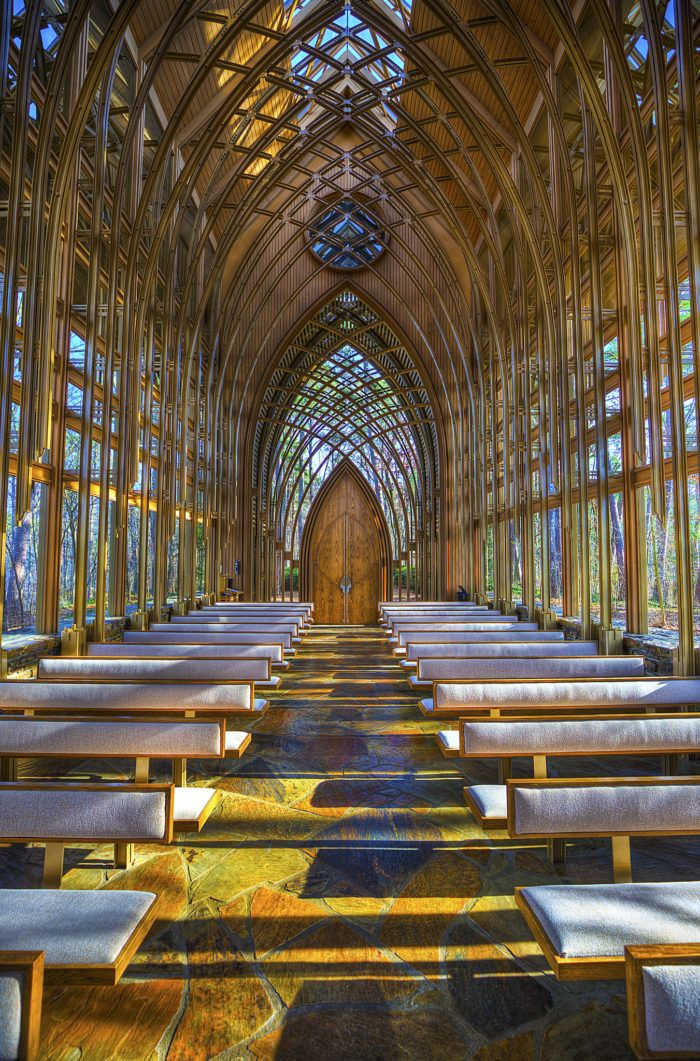 It was built with old Gothic cathedrals in mind. It has 15 main arches that reach 50 feet high.