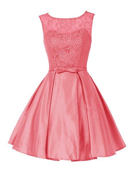 Sleeveless A-Line Short Bridesmaid Dress with Lace Bodice and Satin Sash