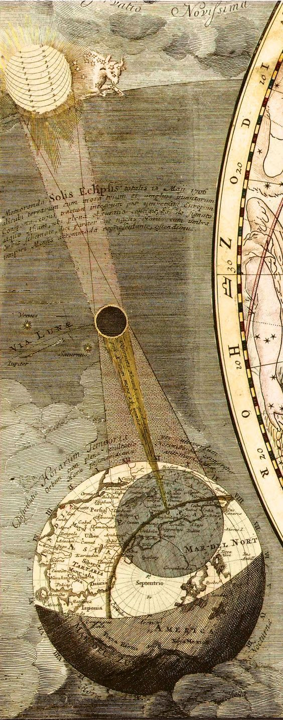 A depiction of a total eclipse that occurred on May 12, 1706 [source]