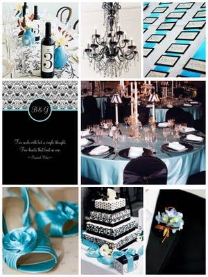 ...Black  Teal wedding...: Black Teal, Black Wedding, Tiffany Blue, Teal Wedding, Black White, Black And Blue Wedding Ideas, Wedding Colors, Colors Schemes, Colors Blue