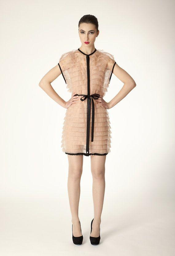 Trimmed nude sheer jersey ruffle parka style dress by tsyndyma, $750.00