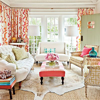 Wouldn't you love to spend the afternoon in Decorating Editor Lindsey Ellis Beatty's stunning sunroom?  SouthernLiving.com: Interior, Living Rooms, Livingrooms, Southern Living, Layered Rug, Color, Sun Room, Sunroom