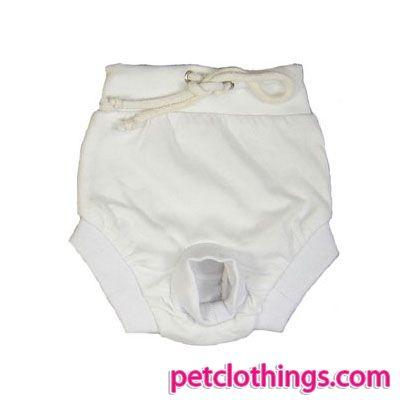 Bragas para Perrita 100% algodón en blanco - Bragas cortos 100% algodón, de color blanco: prenda ideal para la ropa de moda para perritas, ya que facilita la combinación con cualquier camisa.