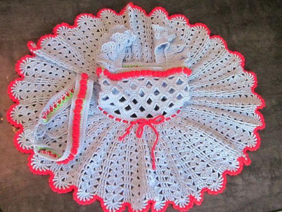 Handmade  Baby Blue Girl Crochet Dress and Head by MagicalStrings, $47.00