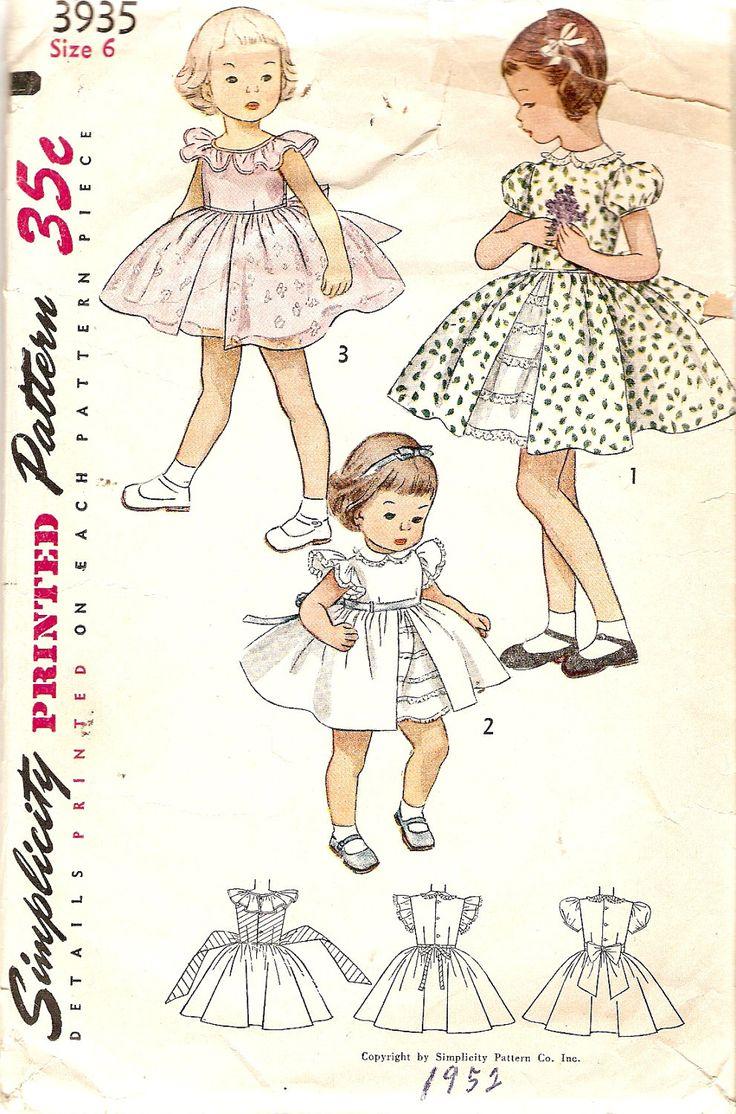 1950s Girls Dress Pattern w/ Underskirt size 6 Puff Sleeves Sleeveless or Ruffles Simplicity 3935 Vintage Sewing Pattern.