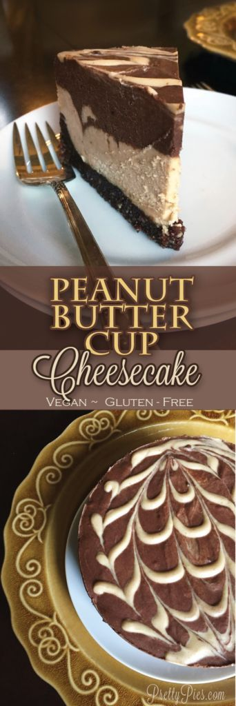 Peanut Butter Cup Cheesecake {Vegan, GF} All the flavors and deliciousness of Reese's in a dairy-free cheesecake!