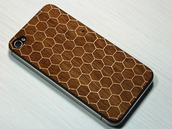Honeycomb 3 Etching on Real Wood iPhone Skin Cover