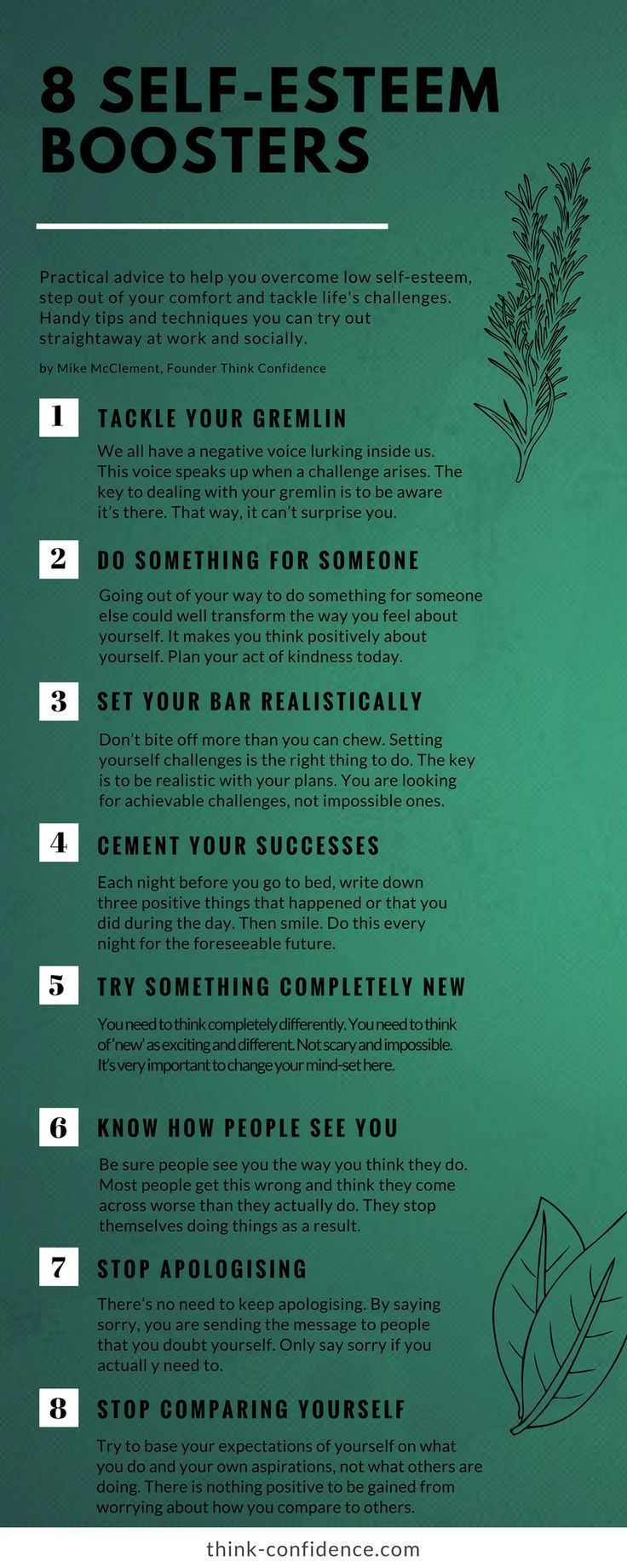 Practical tips for building self-esteem and overcoming self-doubt #infographic #selfesteem #selfdoubt #selfconfidence http://www.loaspower.com/which-type-of-thinker-are-you/