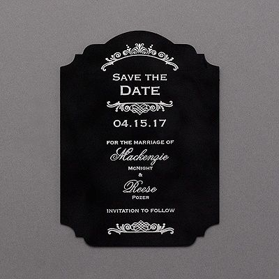 Velvety. Crest shaped. Foil printing. A black velvet save the date card so rich and so vogue is the only way to introduce your glamorous big day.