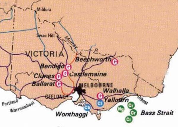 Victoria's mining history begins with the discovery of gold at Clunes, Warrandyte and Kilmore in mid-1851, but it was the discoveries at Bunninyong, and then at Ballarat in August of the same year, which started the great Victorian gold rush. http://www.mininghistory.asn.au/wp-content/uploads/2010/07/vic-map.jpg