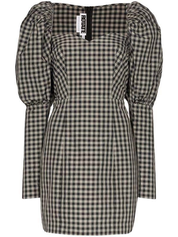 rotate gingham mini dress farfetch kurze kleider minikleid