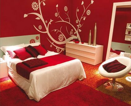 Beautiful Red Flowers Wall Murals Stickers for Teenagers Girls Red Bedroom Decorating Designs Ideas