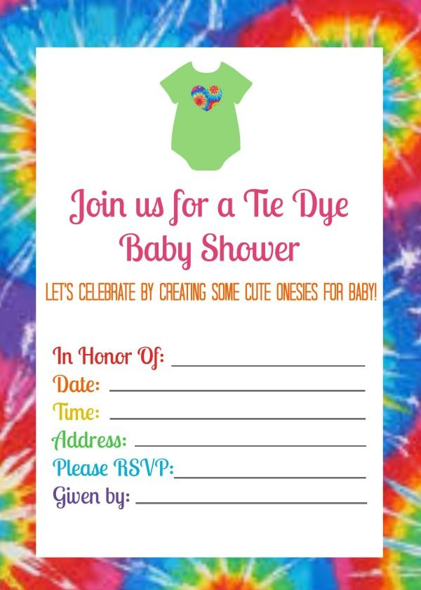 Summer Baby Shower With Tie Dye Onesies Free Printable