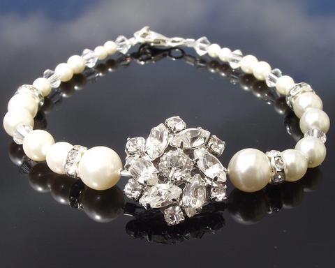Vintage Style Rhinestone & Swarovski Pearl Bracelet, Madelaine