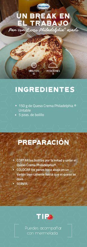 Dormir 5 minutos más y que te despierten con un rico Pan con Queso Philadelphia® asado #recetas #receta #quesophiladelphia #philadelphia #crema #quesocrema #queso #desayuno #cena #almuerzo #ligero #lunch