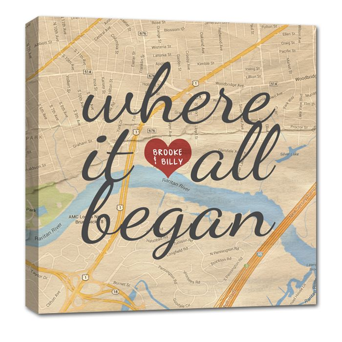 Custom Map Canvas Art YOUR Location Where it all began