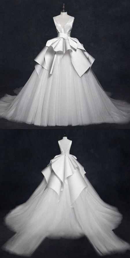 V Neck Sleeveless Stain Wedding Dresses,A Line Tulle Bridal Dresses