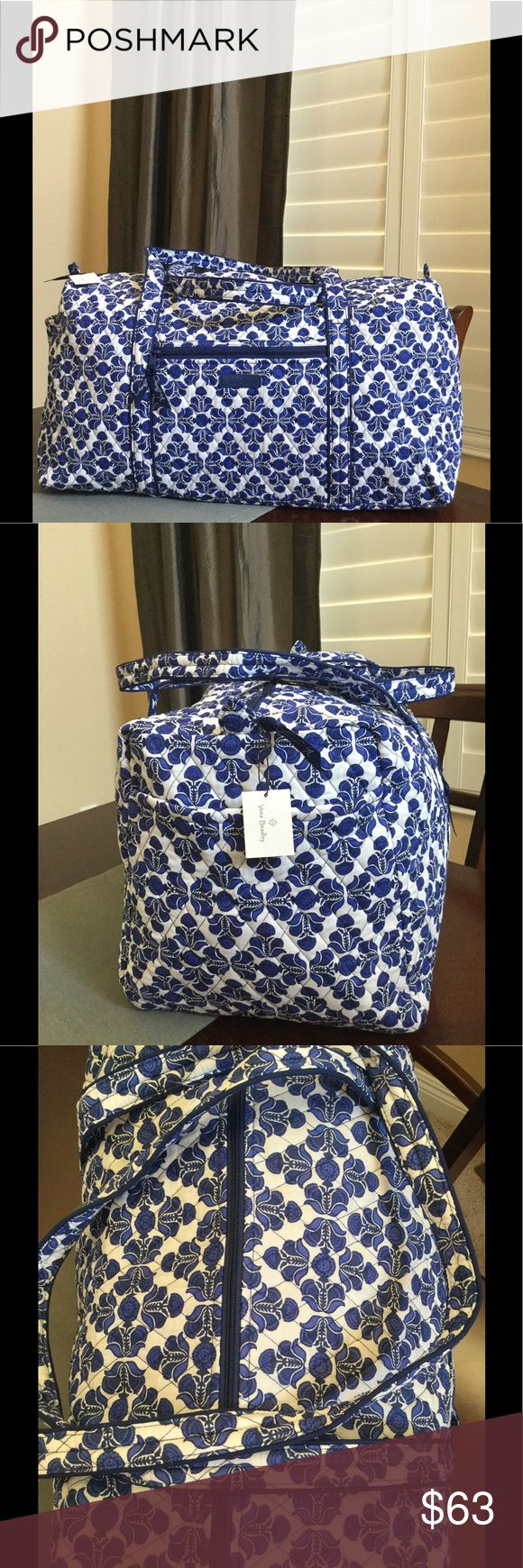 """NWT VERA BRADLEY LARGE DUFFEL Brand new with tags Vera Bradley large duffel  Cobalt tile pattern  15"""" strap drop Handy outside end pocket Folds flat for easy storing Dimensions 22"""" W x 11½"""" H x 11½"""" D - 15"""" strap drop Duffle Smoke/pet free home Vera Bradley Bags Travel Bags"""