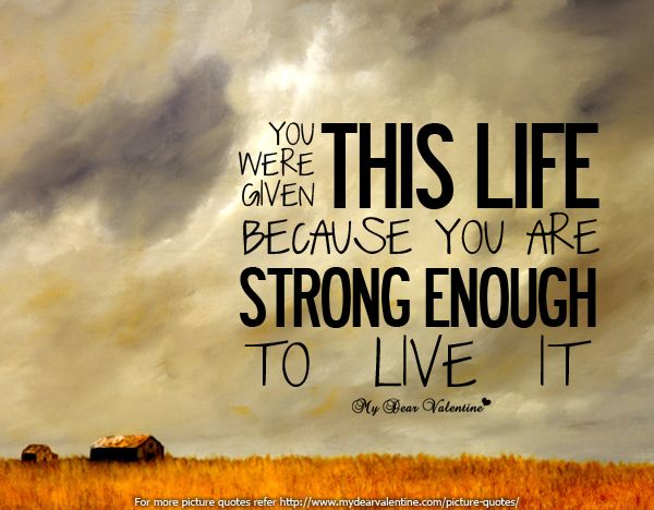 You were given this life because you are strong enough to live it. Remember this.