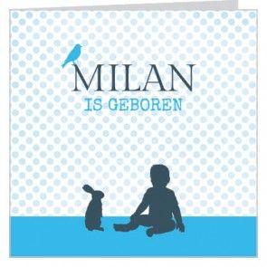 #Geboortekaartje voor een #jongen met blauwe stippen achtergrond en lief #konijntje,  baby en vogeltje. Maak het jouw eigen kaartje door het aan te passen met eigen tekst en bijpassende afbeeldingen uit onze beeldenmap op www.babyboefjes.nl. Direct het kaartje bewerken: http://www.babyboefjes.nl/geboortekaartje-01-1-0436.html