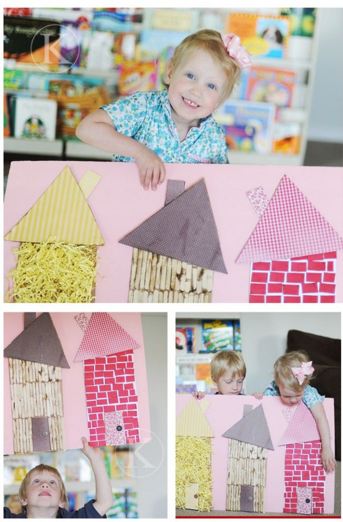 three little pigs houses- Great for families in all different kinds of houses