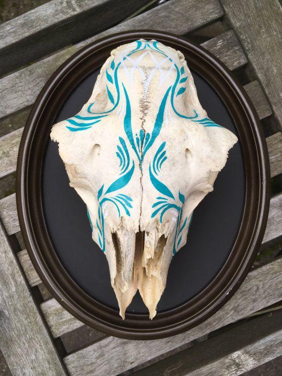 Pinstriped Sheep Skull- decorated skull mounted