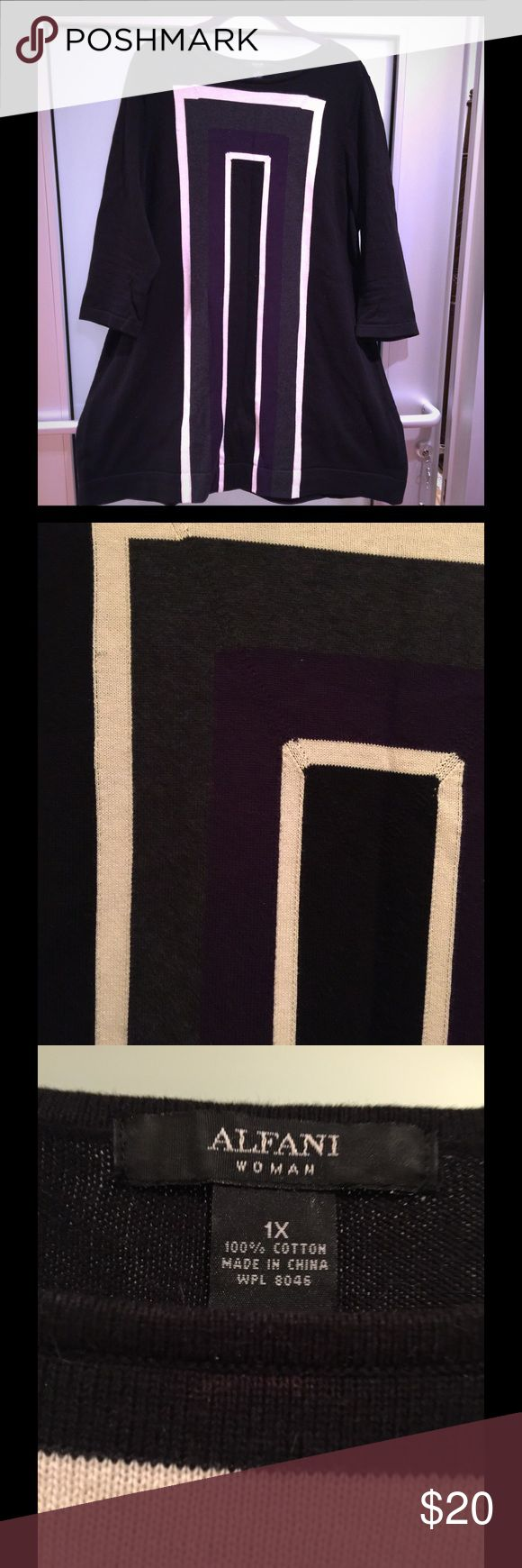 Black Cotton Knit Tunic with Geometric Design Black Cotton Knit Tunic with cream/grey/purple geometric design 100% Cotton Perfect with leggings and boots excellent condition Afani Tops Tunics