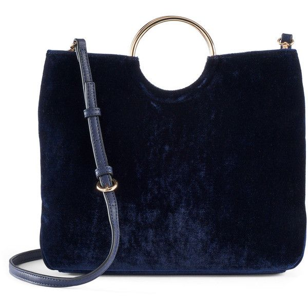 LC Lauren Conrad Runway Collection Celeste Velvet Ring Crossbody Bag ($47) ❤ liked on Polyvore featuring bags, handbags, shoulder bags, blue, blue crossbody, crossbody purse, blue handbags, navy blue purses and blue cross body purse