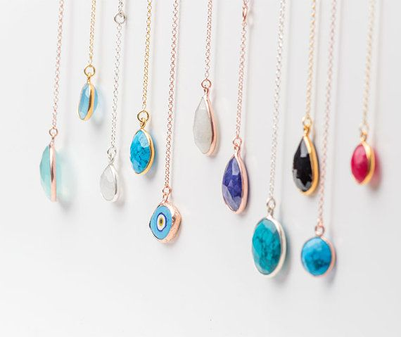 Lariat Necklace Sterling Silver Y necklace Gemstone necklace Dainty Necklace Evil Eye Necklace Layering Necklace Turquoise Necklace autumn
