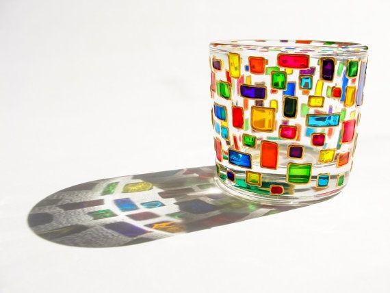 Tea Light Candle Holders, Glass Holder Mosaic Decor