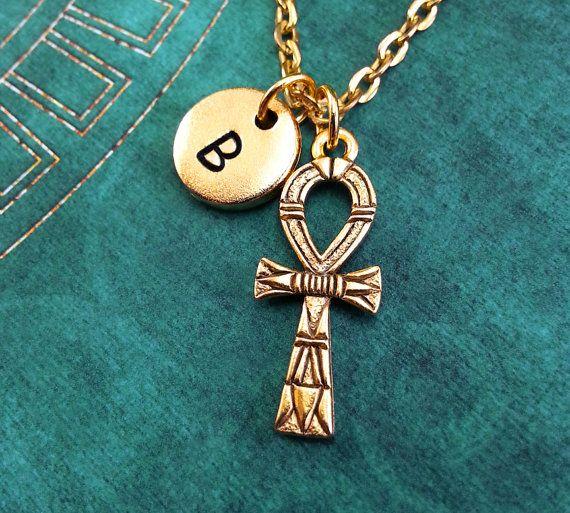 Ankh-Halskette, personalisierte Collier, ägyptische Anhänger, benutzerdefinierte Halskette erste Halskette Monogram Halskette Gravur Charm Gold Ankh Keychain
