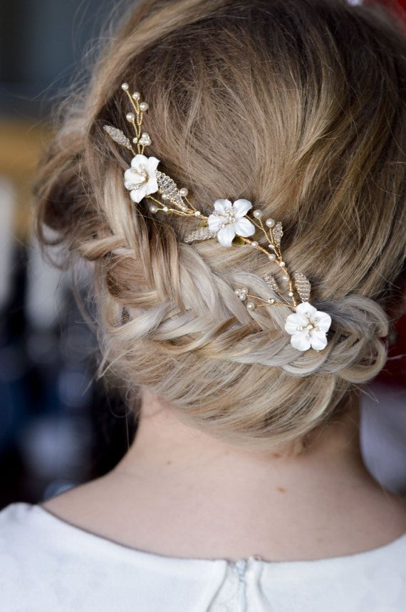 Floral Bridal Hair Vine - Wedding Headpiece - Bridal Gold Hair Vine - Bridal Accessories - Floral Hairpiece - White Flowers