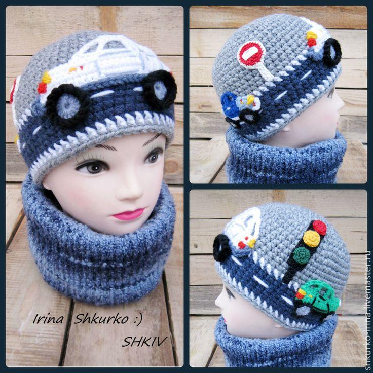 """Купить """"Белый джип"""", весенняя шапка, связана крючком - шапка для мальчика, детская шапочка"""